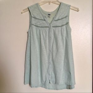 Old Navy Mint Green Button Down Sleeveless Top